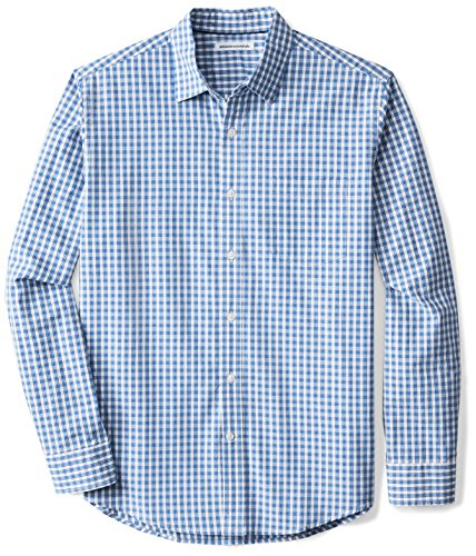 Amazon Essentials Men's Regular-Fit Long-Sleeve Casual Poplin Shirt, Blue Check, Medium