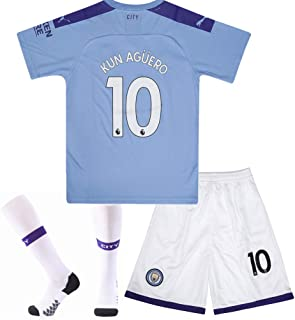 #10 KUN Aguero Manchester City Home Soccer Jersey & Socks & Shorts 2019-2020 Season Kids/Youth Blue