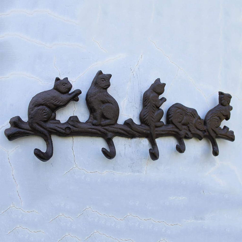 XUYRENP European and American Village Vintage Pastoral cast Iron Crafts Hook Wall Hook cat Hook