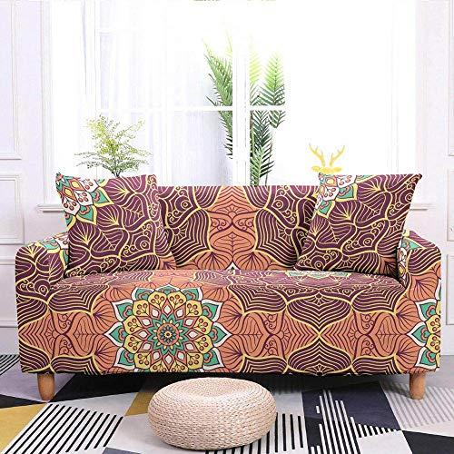 SHENSHI Sofa Covers For Living Room,3D Mandala Pattern Elastic Sofa Cover Stretch Sofa Slipcover Loveseat Sofa L Shape Corner Armchair Protector Cushion Cover,Red Orange,2,Seaters 145,185Cm