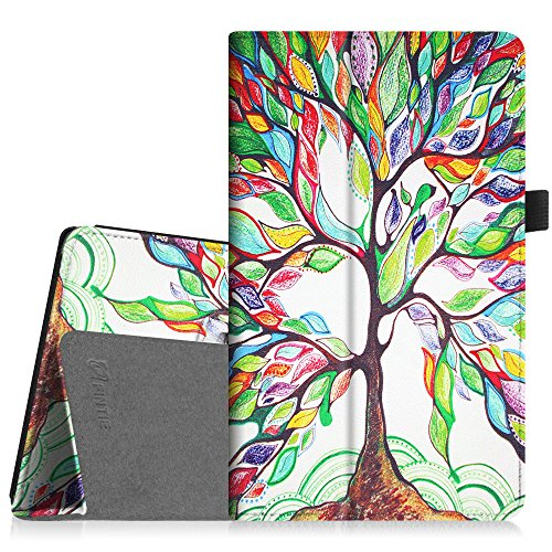 Fintie Folio Case for Amazon Fire HD 8 Tablet (7th 8th Generation, 2017 2018 Release) - Slim Fit Premium Vegan Leather Standing Protective Cover, Love Tree