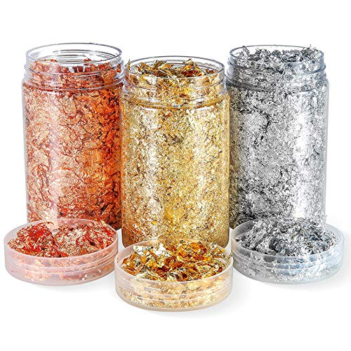 Metallic Flakes Gold Foil Flakes Silver Foil Flakes Rosegold Metallic Leaf Foil Gold Foil Paper Metal Imitation Foil Flakes For Resin Art Nail Decorations Handicraft Decorations(Gold/Silber/Roségold)