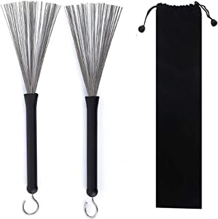 1 Pair Drum Brushes Retractable Drum Wire Brushes Drum...