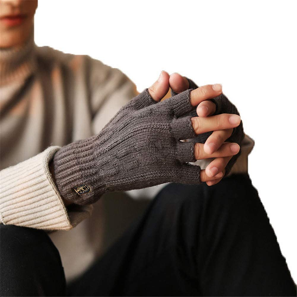Mens Gloves Autumn and Winter Warm Fleece Thick Knit Half Finger Mittens Wool Lined Texting for Driving Cycling Motorcycle