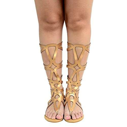 13403ade2b9f95 Odema Womens Knee High Gladiator Thong Sandals Summer Roman Strappy Flat  Zip Sandal Boot