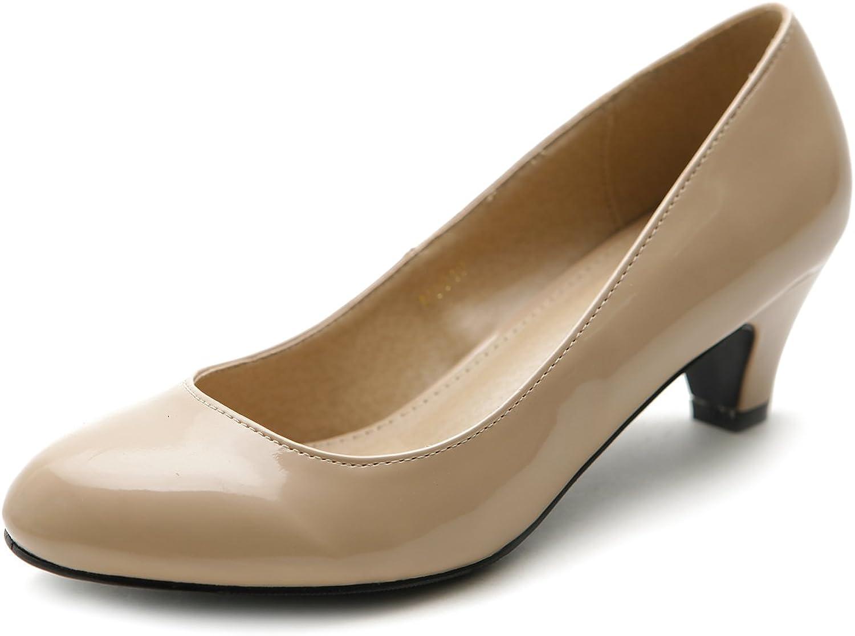 Ollio Women's shoes Classic Mid Heel Enamel Pump(10 B(M) US, Beige)