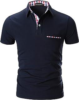 STTLZMC Mode Polo Homme Manche Courte Golf Poloshirt Casual Col Contrasté Tops
