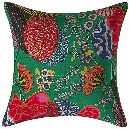 Hermosa funda de cojín hecha a mano Kantha con estampado de frutas, algodón, étnico indio cosido a mano Kantha cojín de diseñador almohadas decoración (1)