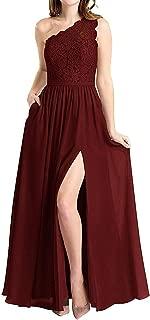 Women's One Shoulder Long Evening Dress Lace Chiffon Bridesmaid Dress Side Split Prom Gowns
