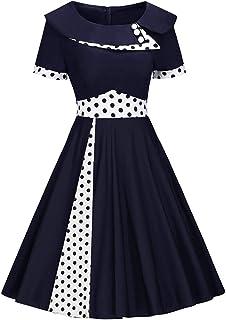 f9a5d31e7ad8b MisShow Robe de Soirée Vintage Femme Imprimée à Pois Manche Courte Swing  Rockabilly Pin up en