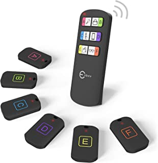 Esky Key Finder, Wireless RF Item Locator Item Tracker Support Remote Control,1 RF Transmitter and 6 Receivers - Wireless Key RF Locator, Pet Tracker Wallet Tracker (with Letter)