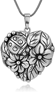 Oxidized Sterling Silver Lucky Ladybug Flowers Leaves Garden Heart Shaped Locket Necklace 18