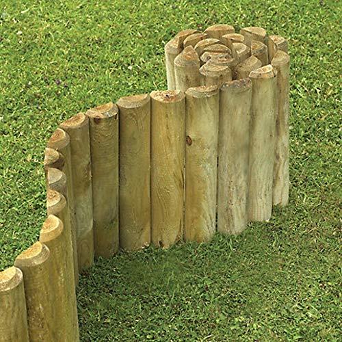 BISEN Rouleau de bordure en bois pour clôture, jardin, pelouse, extérieur