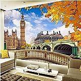 Clhhsy 部屋を飾 取り外し可能な壁画 ホームデコレー 壁壁画ロンドンビッグベンビル風景壁紙リビングルーム家の装飾3D寝室浴室家の装飾 -450X300Cm