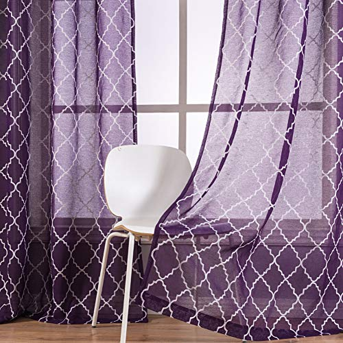 Kotile Window Sheers 63-Inch Length for Girls Room - Embroidery Moroccan Trellis Curtains for Girls Room Purple Sheer Curtains Grommet Top Widnow Curtains for Bedroom, 52 x 63 Inches, 2 Panels, Purple