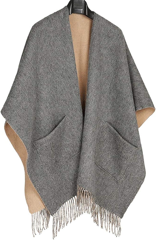 CHX Winter Woman Scarf 170cm×122cm Thicken Keep Warm Cloak Big Shawl Pocket Design V (color   Camel DoubleSided)