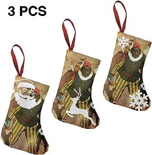 Pumnims Sinterklaas and Zwarte Piet Vintage Christmas Stockings Xmas Socks Ornament Themed 3pcs Small Mini Little Short Novelty Crazy Print Toddler Baby Kids Childs