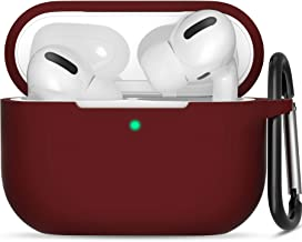 AirPods Pro Case, Protective Silicone Cover with Keychain Compatible with Apple AirPods Pro (Front LED Visible) - Burgundy