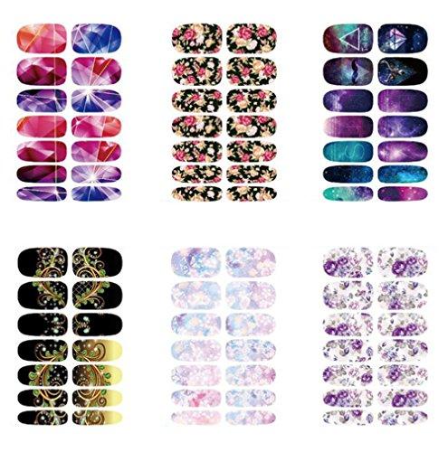 Gespout 6PCS Nail Art Autocollant Deco Nail Art Lot Stickers Pour Ongles Nail Outils Artistiques Différents Modèles