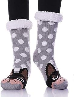 ASDAS, Calcetines para mujer con pinzas, antideslizantes, con puntos grises, antideslizantes, para interior de animales, antideslizantes, calcetines de forro polar, calcetines antideslizantes