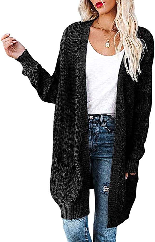 Womens Plus Size Open Front Cardigans Kimono Long Batwing Sleeve Chunky Knit Casual Sweater Outwears with Pockets