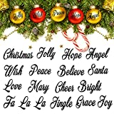 Zonon 2 Sheets Christmas Words Vinyl Decals Christmas Words Greetings Sticker Black Words Ornament Sticker for Christmas Ball Bottle Ornaments, 1.6 Inch in Each Letter