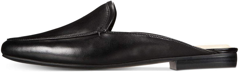 Alfani Womens Khourt Leather Round Toe Mules, Black, Size 8.5