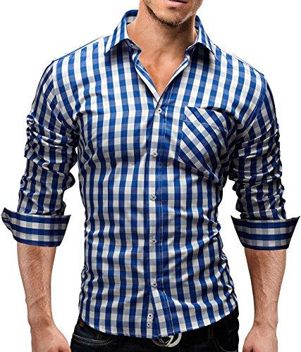 Merish Camicia Uomo, a Scacchi, Camicia Classiche, Slim Fit 5 Colori Taglia S - XXL Modell 44 Blu/Bianco M