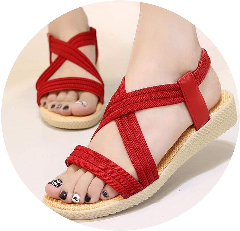 Summer Women Sandals Comfortable Ladies shoes Beach Sandal Women Casual shoes,Red,9.5