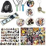 Naruto Bag Gift :Set Bag+Gemstone Pendant+Headband and Weapon with Ninja+Keychain+Brooch+Stickers +posters