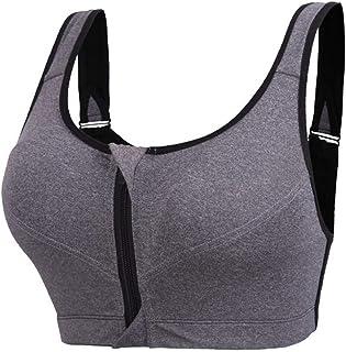 HOMES1 Womens Sports Bra Shockproof Fixed Underwear Vest Running Gym Zipper  Adjustable Strap