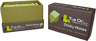 Sticky Notes, Tub Of Brand, 3 x 3 inches, Self Stick Notes, Yellow, 12 Pads Per Pack, 100 Sheets Per Pad