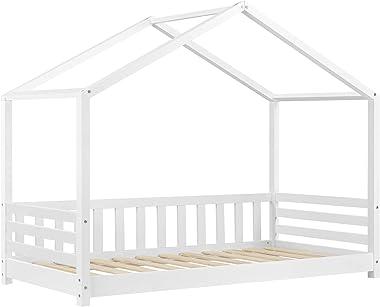[en.casa] Lit d'enfant Design Forme Maison avec Barrière de Protection Anti-Chutes Lit Cabane avec Sommier à Lattes Const