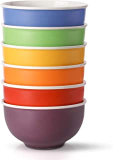 LIFVER Cereal Bowls, Set of 6 Porcelain Bowls for Soup, Salad, Rice, or Pasta, 24 Fluid Ounce (3 Cup) Capacity, 5.75 Inch Diameter, Multi-color