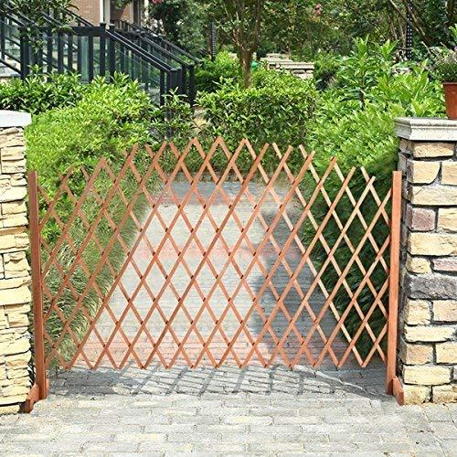 KEWEI Blumenständer ausziehbares Rankgitter Holz Zaun – Wachstumsunterstützung 1,80 m x 1,18 m Garten Sichtschutz Trennwand – verstellbares Holz freistehendes Regal