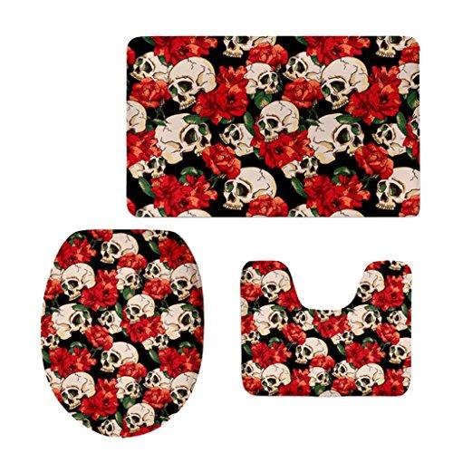 Dovewill Set of 3Pcs Non-Slip Bathroom Pedestal Lid Mat Toilet Cover Rug Pad 13 Types - Skulls#1, as described