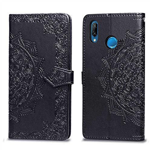 Bear Village Hülle für Huawei P Smart Plus 2018 / Nova 3I, PU Lederhülle Handyhülle für Huawei P Smart Plus 2018 / Nova 3I, Brieftasche Kratzfestes Magnet Handytasche mit Kartenfach, Schwarz