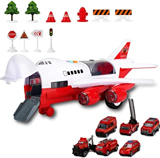 Kids Electronic Airplane Toys with Light and Music, Truck Cars, 11 Road Signs, Educational Vehicle Construction Car Set Gift for Child (Fire Truck Airplane)