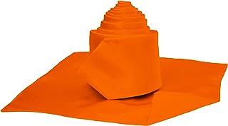 David Van Hagen Mens Satin Thin Tie and Pocket Square Set Burnt Orange
