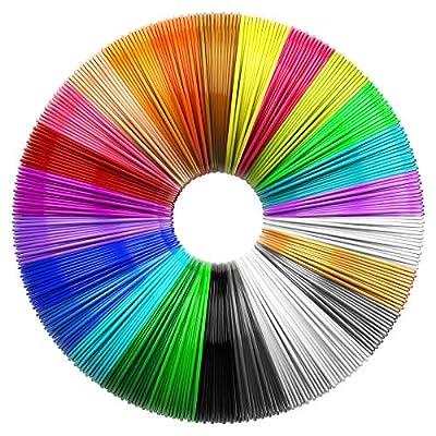 TECBOSS Filament Refills for 3d pen, 26 Pcs Eco-friendly 1.75mm PLA with No smell and No bubbles, 26 Colors