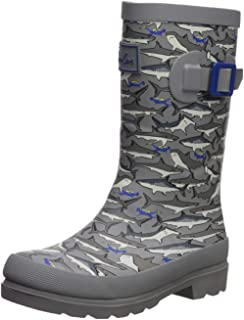 Joules Boys Welly Rain Boot Grey Stripe Shark 13 Medium UK Little Kid (1 US)