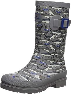 Joules Boys Welly Rain Boot Grey Stripe Shark 13 Medium UK Little Kid (1 US)