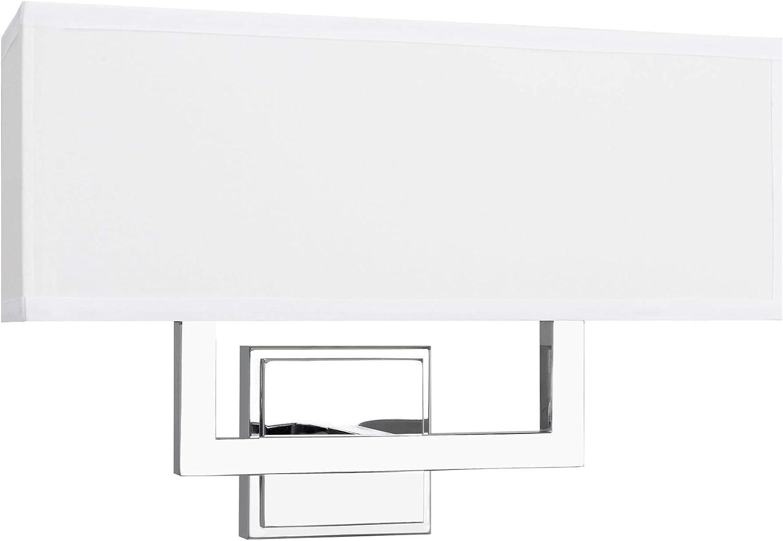 Kira Home Haven 16  Modern 2-Light Wall Sconce Wall Light + Rectangular White Fabric Shade, Chrome Finish