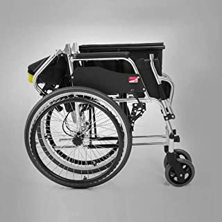 Wheelchair, Transport Folding Lightweight Chair with Handbrakes, Adjustable Brake Tightness Speed, 20 inch Large Rubber Wh...