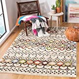 Safavieh Amsterdam Collection AMS108K Moroccan Boho Non-Shedding Living Room Bedroom Accent Area Rug, 4' x 6', Ivory / Multi