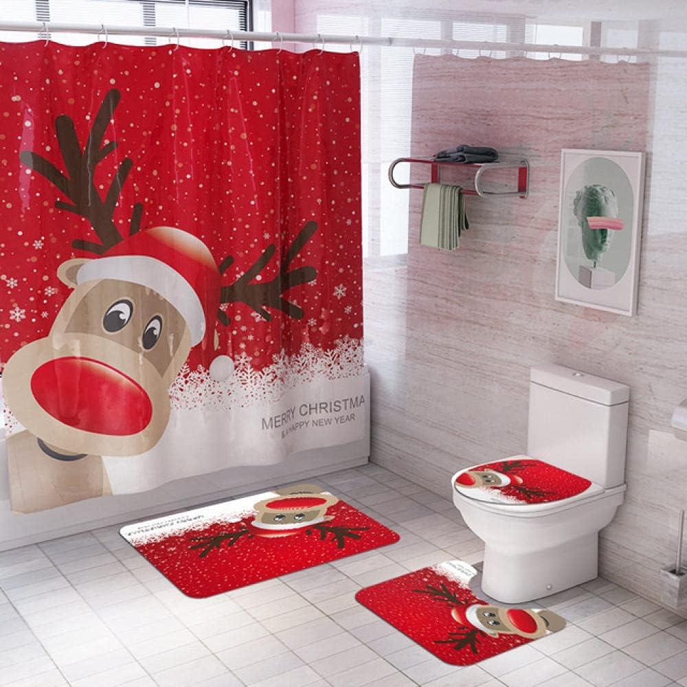 Bathroom Set Snowman Santa Claus C Elk Limited price Popular products sale Shower Waterproof Pattern