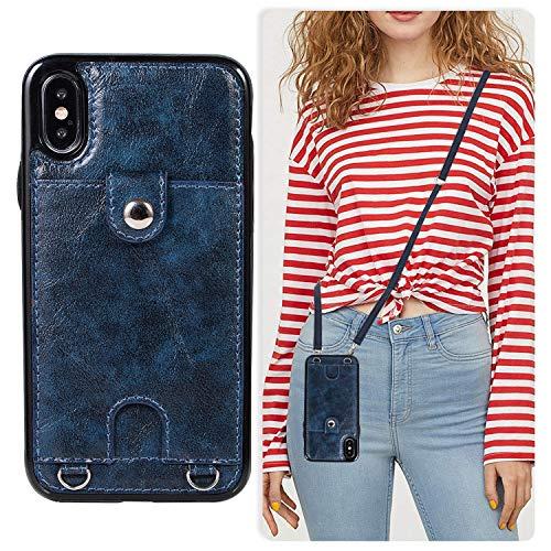 Oihxse Cuerda Case Compatible con iPhone XR Funda Ultradelgado Cuero PU Correa Ajustable Desmantelar Colgar Colgante Protector Carcasa Ranuras para Tarjetas Bumper-Azul