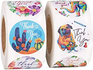 2pcs Seal Label Thank You Pattern Stickers Colorful Adhesive Label Circle Shape Sticker (Colorful)