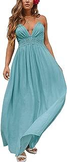 Women Summer Cotton Spaghetti Straps V Neck Backless Sexy Beach Flowy Long Dresses