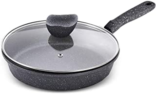 AOLI Aluminum Frying Pan|Flat Bottom Wok| Non-Stick Skillet |with Lid and Anti-Scalding Handle |Suitable for All Hob Types Including Induction,30cm